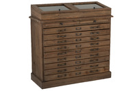 Dresser With Display Wood Brown