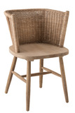 Chair Tub Wood/Rattan Natural