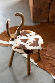Chair Ears Cow Wood Brown