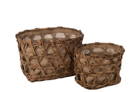 Set Of 2 Baskets Woven