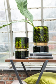 Vase Speck Glass Green/Black/Gold
