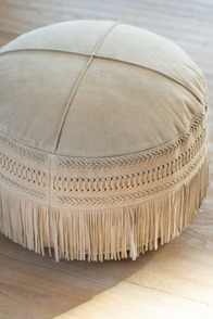 Hassock Tassels Round Leather