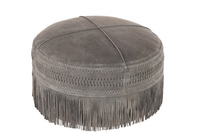 Hassock Tassels Round Leather Grey