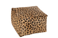Hassock Leopard Square Leather Mix